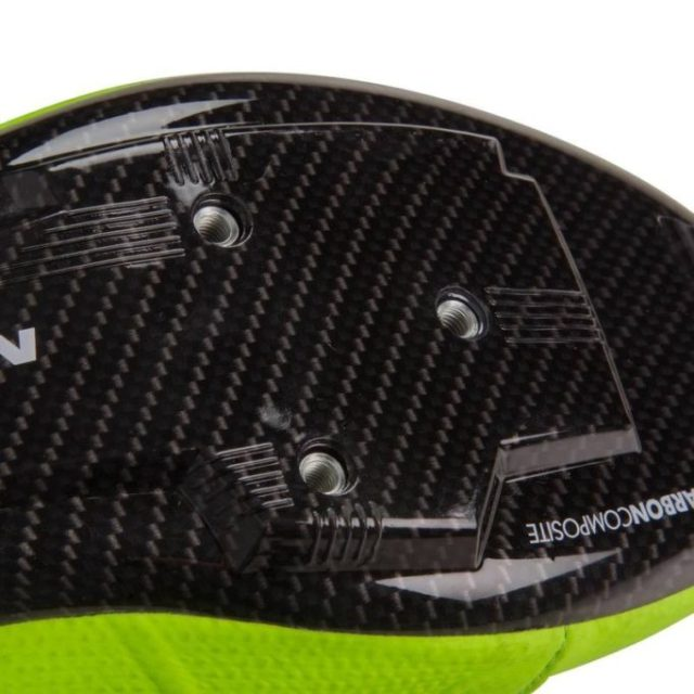 The carbon composite sole has a carbon fibre effect graphic applied to it