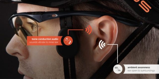 Using bone conducting technology means you can still hear what's coming up behind you