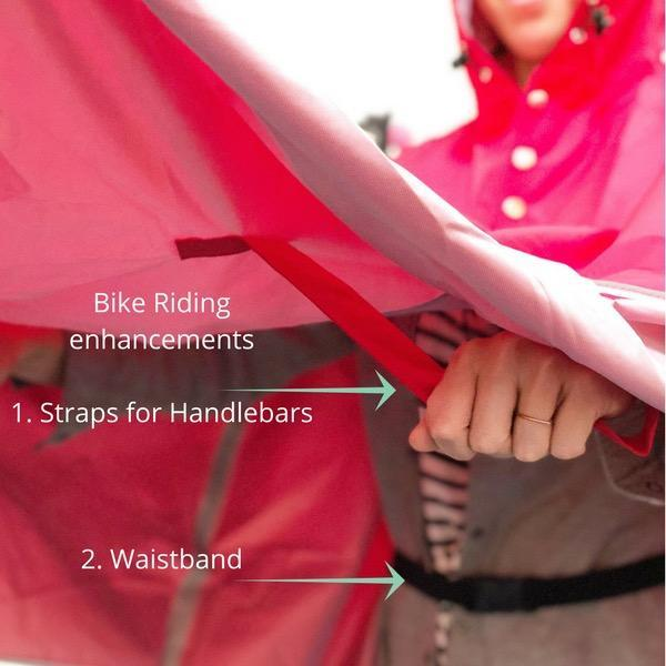 Straps are added to help keep the poncho in place and you dry