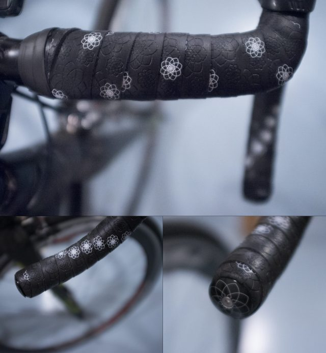three pictures of black cycling handlebar tape.