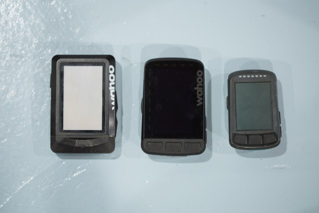 Comparison image showing the Wahoo Elemnt, Wahoo Elemnt Bolt, and Wahoo Elemnt Roam