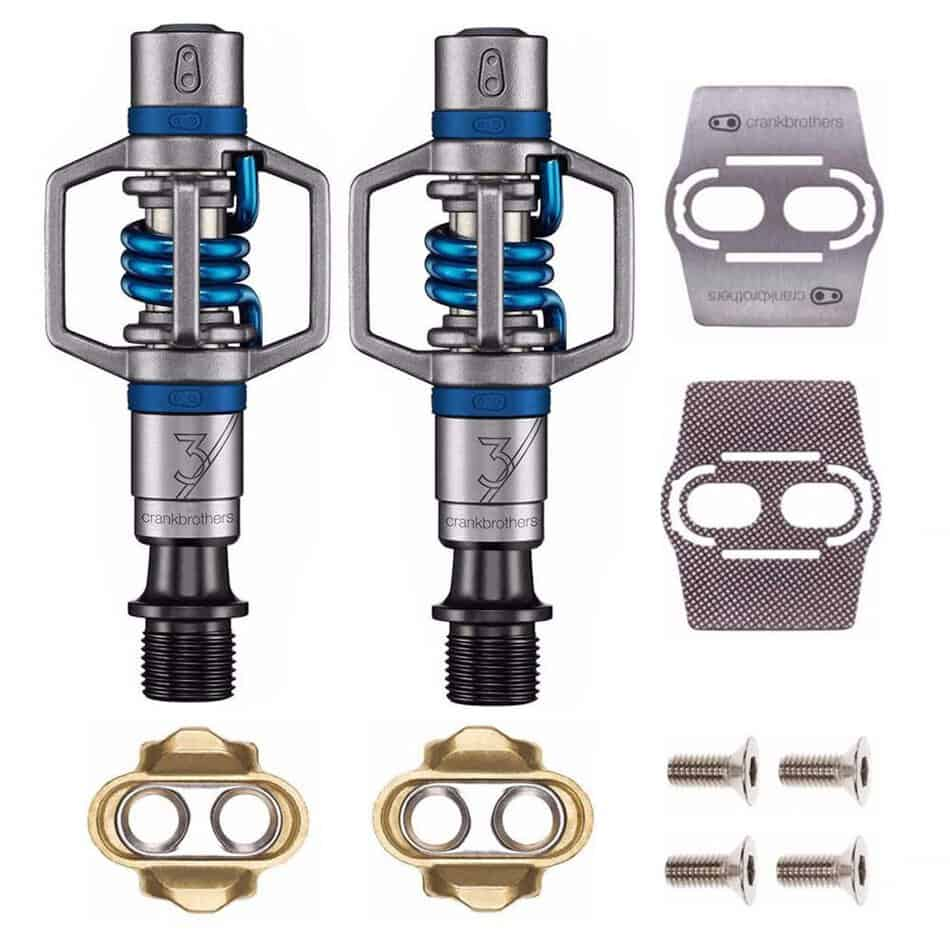 Crankbrothers Stamp 1 Bike Pedals Pair Blue//Large with Cleats and Shoe Shields