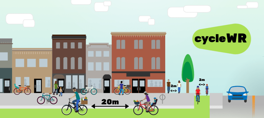 A computer-generated graphic of people walking and on bikes on an urban street, with adequate physical distancing between them.