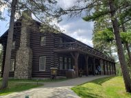 This is the main lodge at Itaska State Park, Douglas Lodge. I love the archatechture.