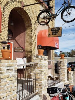 The trail passes by a fun cafe in Bowlus.