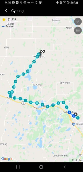 Route for May 8