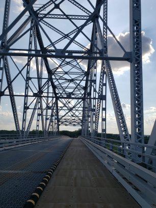 Going under the 1st bridge.
