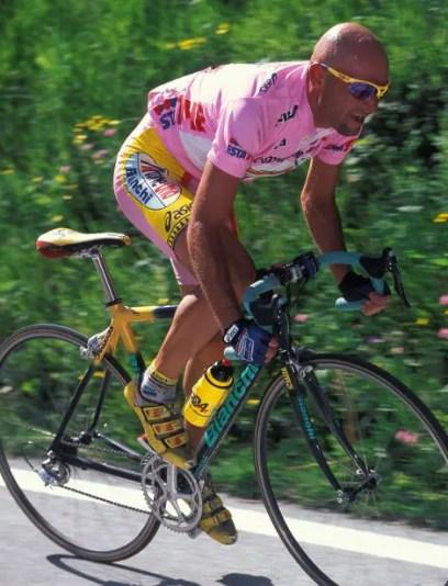 Marco Pantani's aerodynamic position.