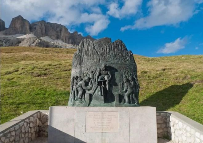 Fausto Coppi memorial at Passo Pordoi