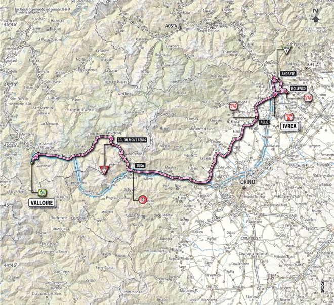 Giro d'Italia 2013 stage 16 map