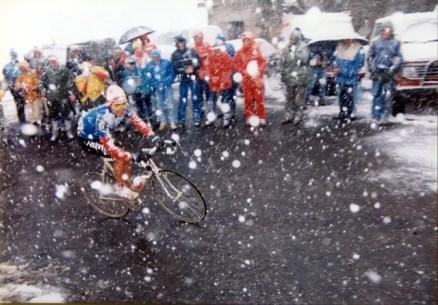 Andy Hampsten climbing Passo di Gavia, Giro 1988