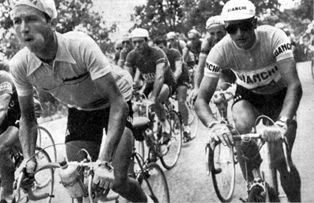 Carlo Clerici in pink jersey, Giro 1954