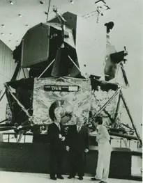 Tullio Campagnolo in front of NASA satellite OSO 6.