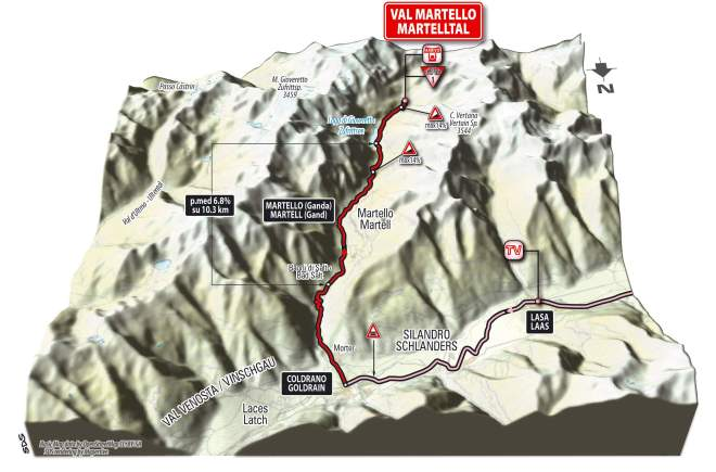 Giro d'Italia 2014 stage 16 climb details - Val Martello 3D (new)