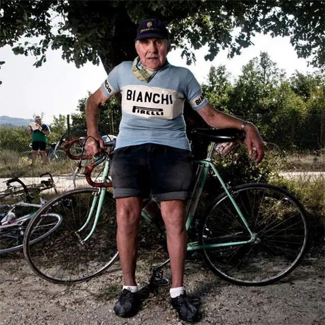 Valeriano Falsini with his Bianchi bike