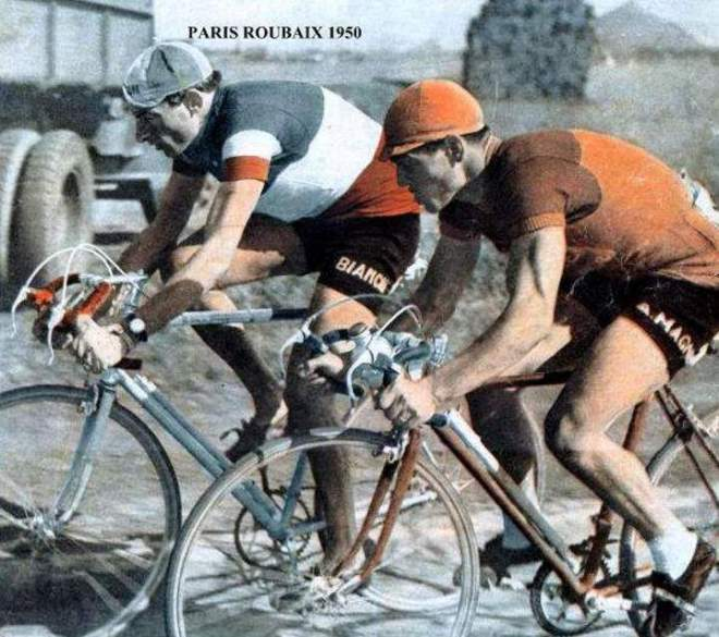 Fausto Coppi riding with Maurice Diot, Paris-Roubaix 1950
