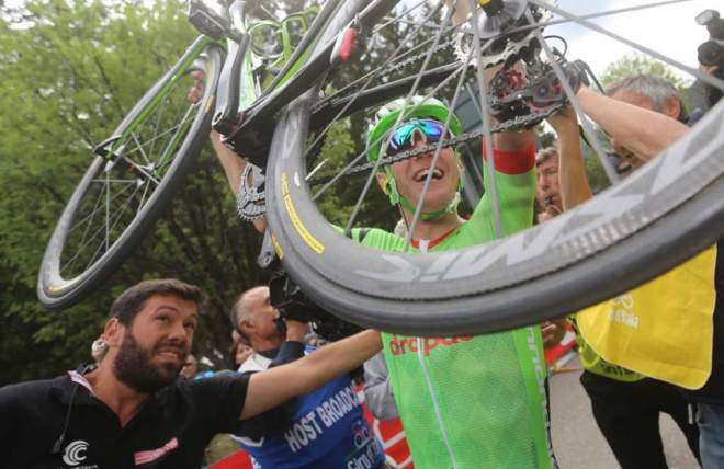 Pierre Rolland after winning Giro d'Italia 2017 stage 17