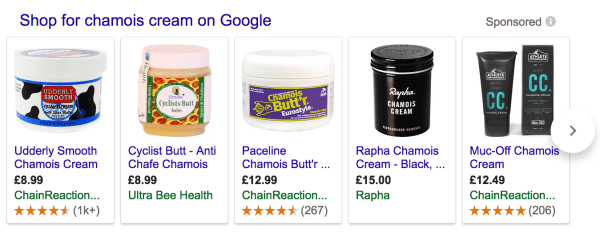 Google shopping results for chamois creams