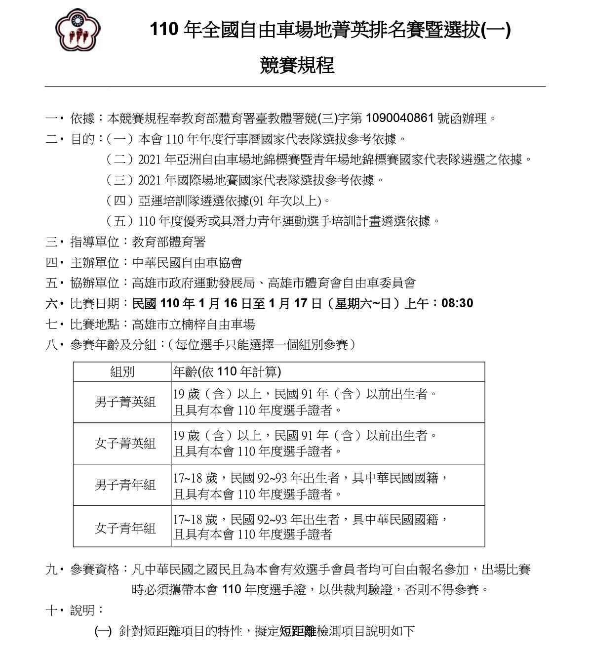 110年全國自由車場地菁英排名賽一競賽規程_page-0001-1