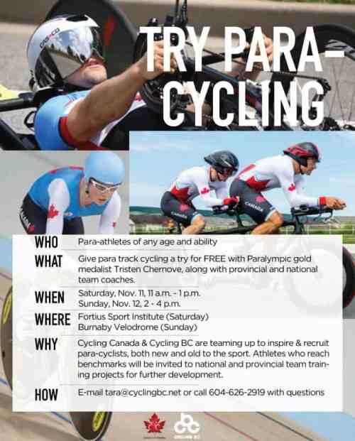 Cycling BC Para Cycling ID camp poster