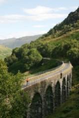 Crossing Glen Ogle viaduct, Cycling National Route 7, Glen Ogle. Callander to Killin, Lochs and Glens, in Scotland