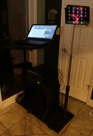 No longer a computer stand--now a computer cart, with an iPad & POS devices.