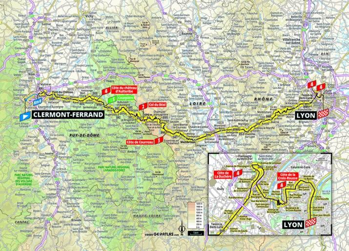 Carte - 14e étape - Tour de France 2020 - ASO/Geoatlas