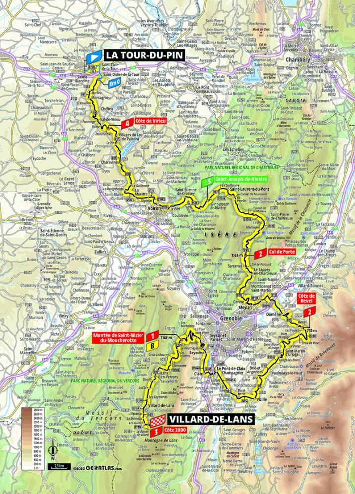 Carte - 16e étape - Tour de France 2020 - ASO/Geoatlas