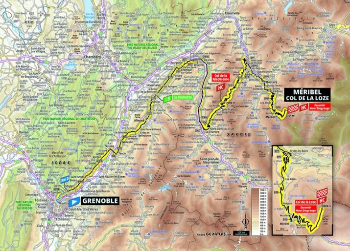 Carte - 17e étape - Tour de France 2020 - ASO/Geoatlas