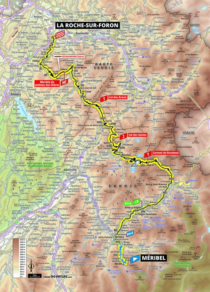 Carte - 18e étape - Tour de France 2020 - ASO/Geoatlas