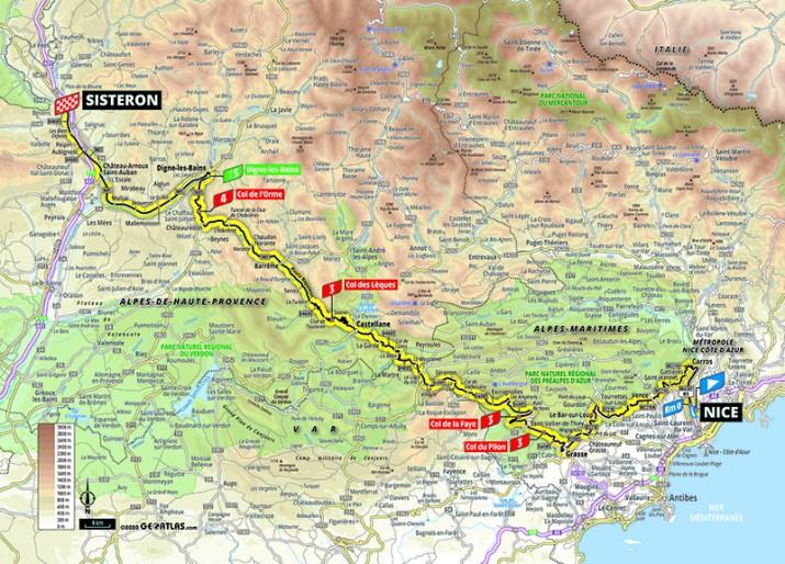 Carte - 3e étape - Tour de France 2020 - ASO/Geoatlas