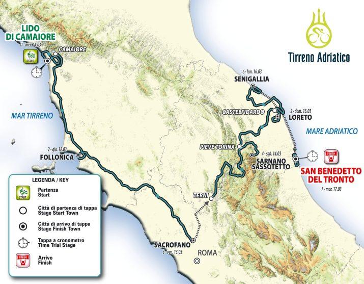 Carte générale - Tirreno-Adriatico 2020