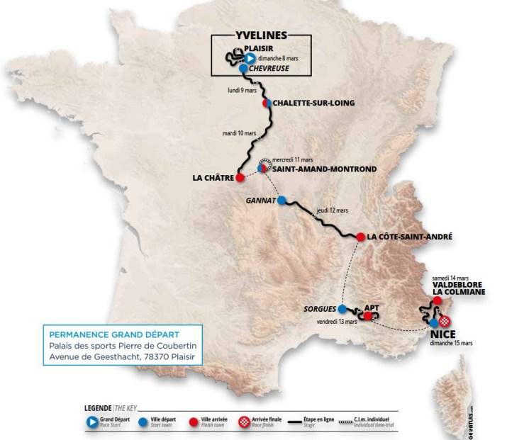 Carte générale - Paris-Nice 2020