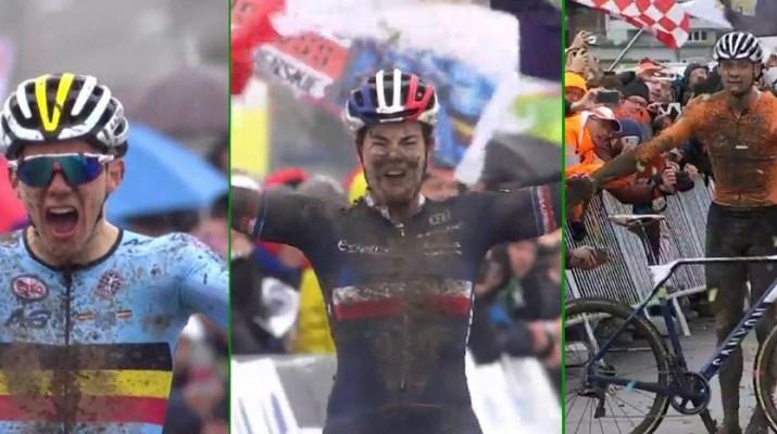 Montage Thibau Nys - Marion Norbert-Riberolle - Mathieu Van der Poel - Championnats du monde cyclo-cross 2020