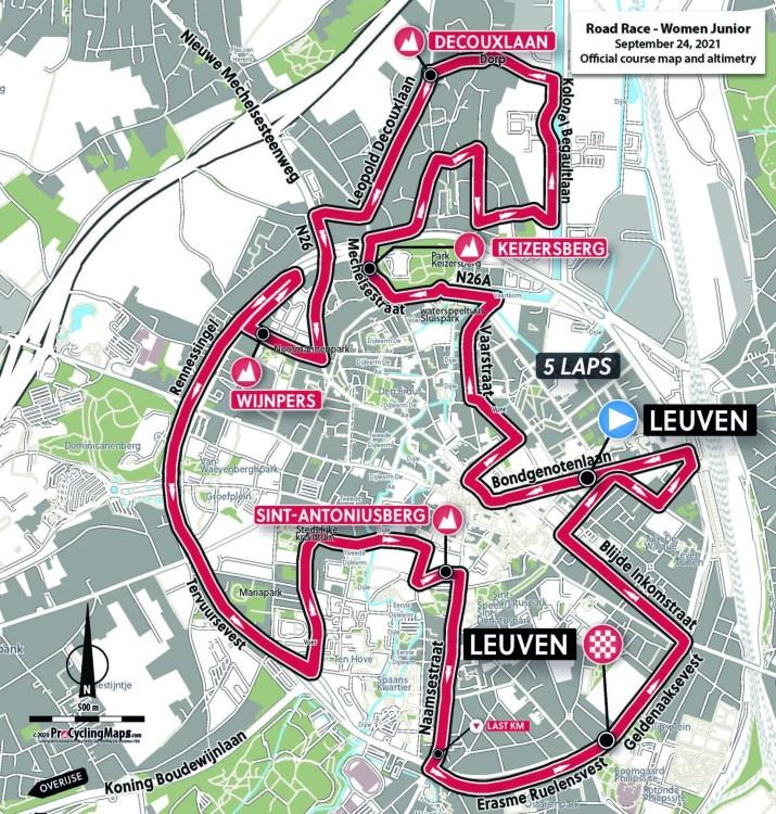 Championnats du monde sur route 2021 - Parcours Course en ligne juniors femmes