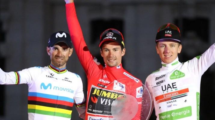 Podium Tour d'Espagne 2019 - Alejandro Valverde Primoz Roglic Tadej Pogacar - Unipublic Gomezsport Luis Angel Gomez