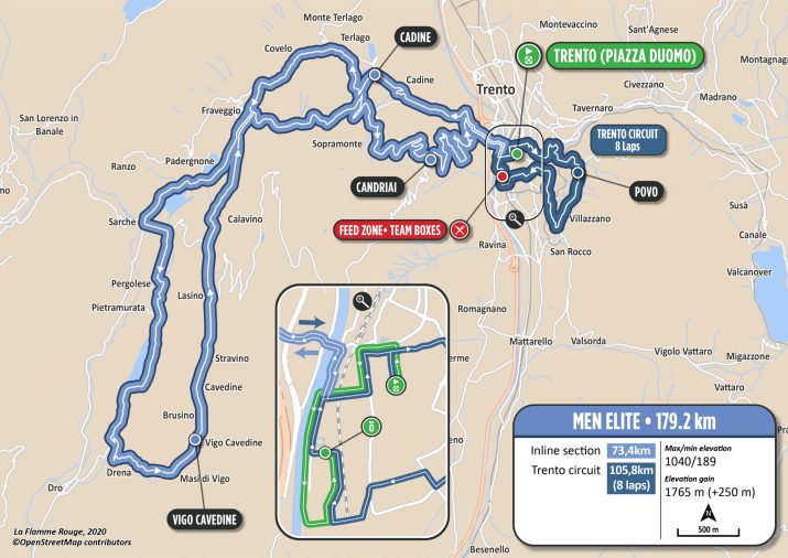 Course en ligne Messieurs - Parcours - Championnats d'Europe Trentin 2021
