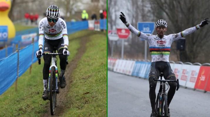 Montage Ceylin Del Carmen Alvarado Mathieu Van der Poel - Cyclo-cross de Hamme 2021 - Alain Vandepontseele