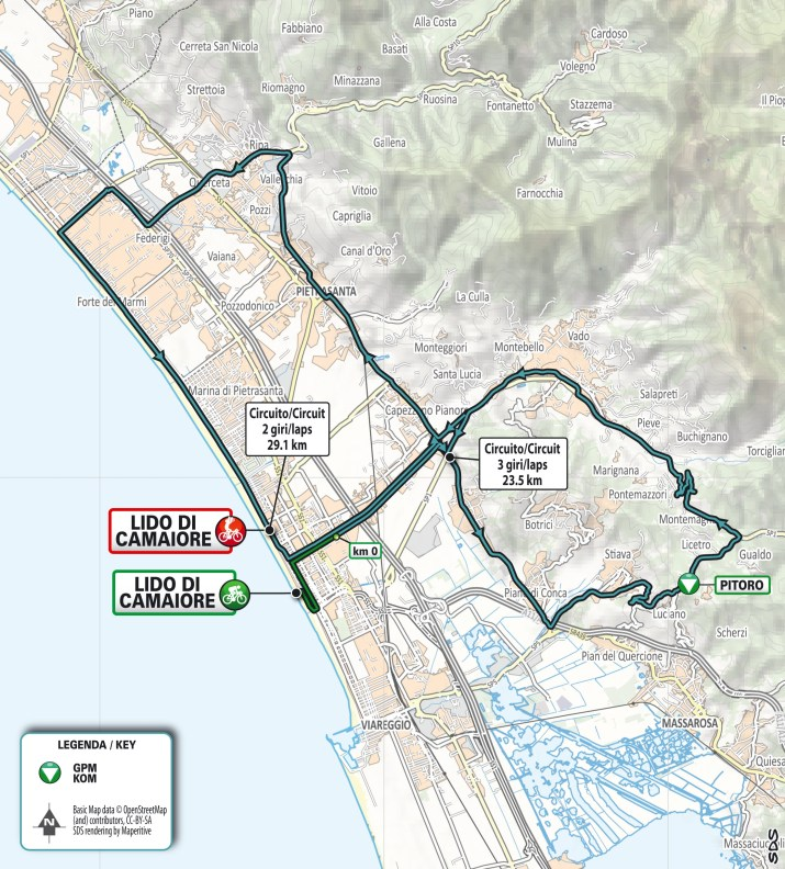 Carte - 1re étape - Tirreno-Adriatico 2021
