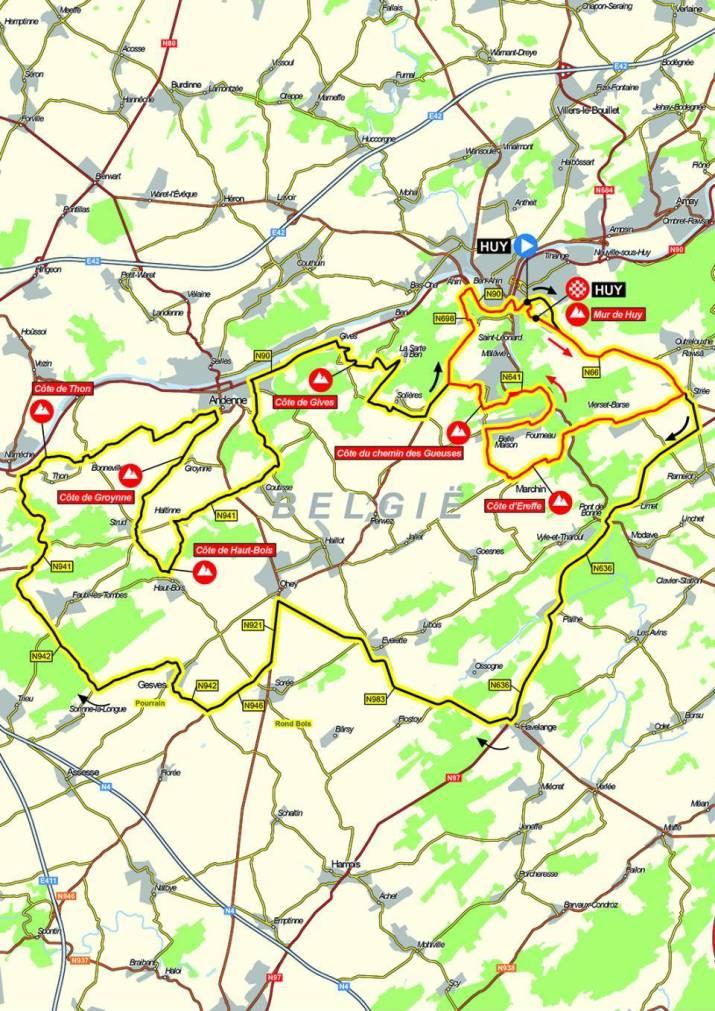Carte - Flèche Wallonne Femmes 2021