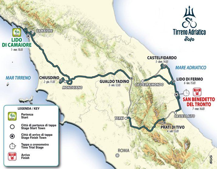 Carte générale - Tirreno-Adriatico 2021