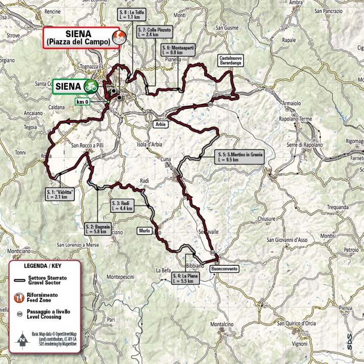 Strade Bianche 2021 - Parcours Femmes