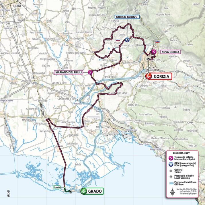 15e étape - Carte - Tour d'Italie Giro 2021