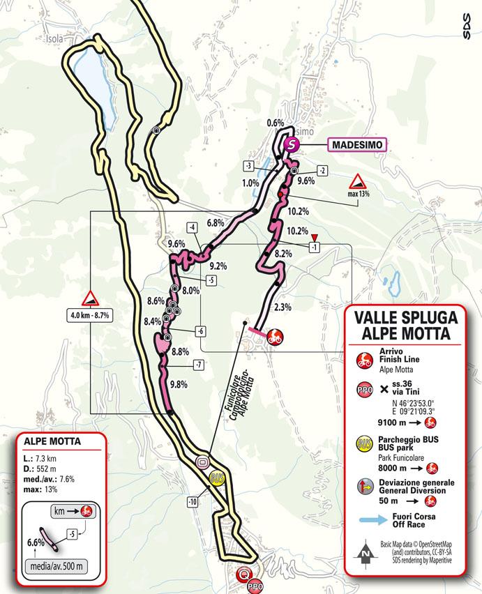 20e étape - Carte du final - Tour d'Italie Giro 2021