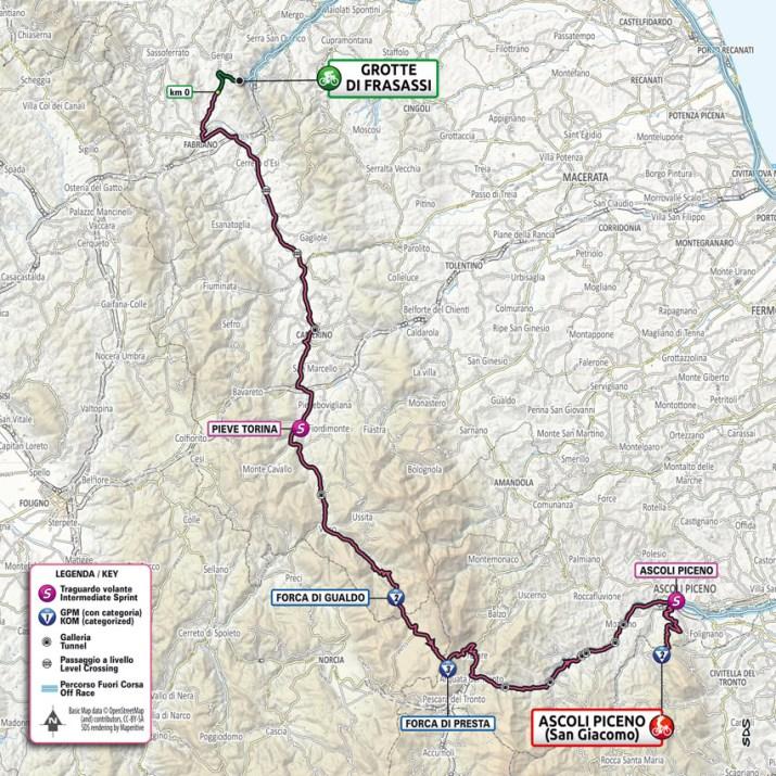 6e étape - Carte - Tour d'Italie Giro 2021