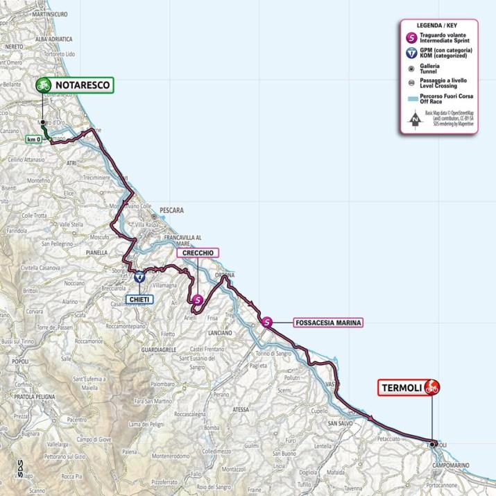 7e étape - Carte - Tour d'Italie Giro 2021
