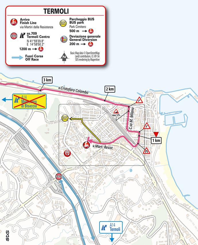 7e étape - Carte du final - Tour d'Italie Giro 2021