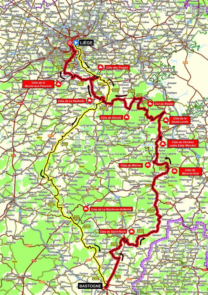 Carte Liège-Bastogne-Liège - Hommes 2021