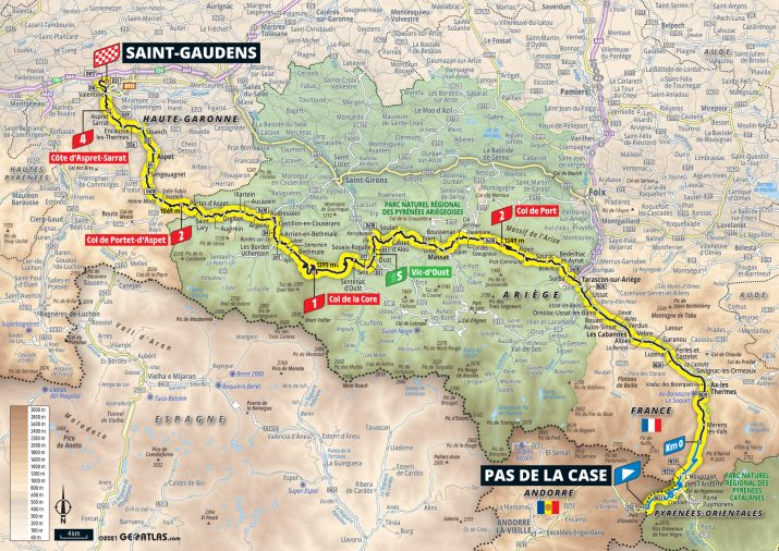 16e étape - Carte - Tour de France 2021