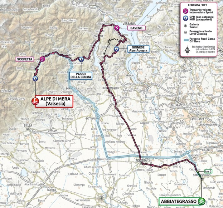 19e étape - Carte - Tour d'Italie Giro 2021